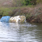 This boat had sunk completely when we returned 2 weeks later after a high river flow